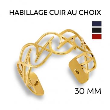 Bracelet acier pvd jaune 30 mm JILLY  personnalisable
